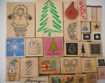 36 Gently Used - New Christmas Themed Rubber Stamps, Free Shipping