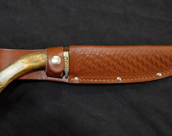 Bowie Hunting Knife Carrier of Kentucky Custom made Crown Stag Handle Custom Blade Art by Renwa