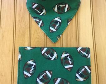 Burp Cloth & Bandana Bib Feeding Set - Football / Green, Brown, White, Cream
