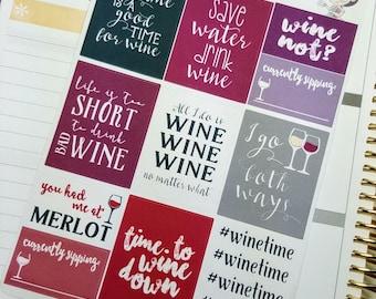 WINE quote boxes   Stickers forErin Condren planner (#QB15)