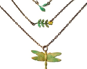 boho layering necklace, Painted Nature-Jewelry Christmas gifts|Dragonfly-Necklace rustic boho|wedding bridesmaid-gift wedding| boho jewelry