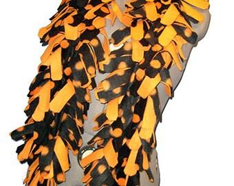 Fleece Boa Scarf, 4 Layered Thick Muffler, Textured Bufanda, Black/Orange Polka Dot & Orange
