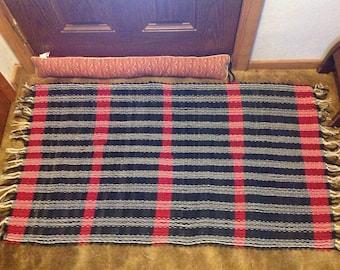 Black and red denim rag rug