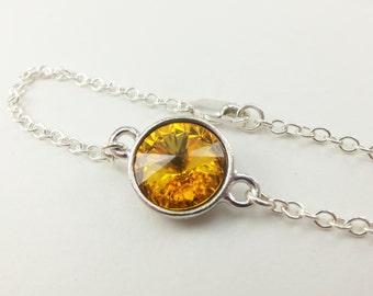 Sunflower Yellow Bracelet Sterling Silver Chain Bracelet Crystal