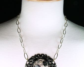 Chunky Antique Silver Watch Movement Black Filagree Necklace Vintage Retro