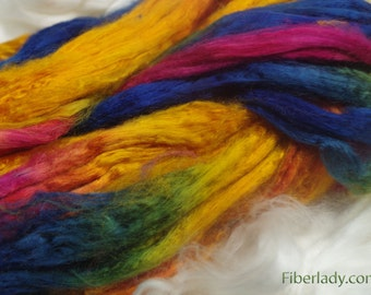 4 oz Hand painted Bamboo combed top spinning fiber - Rainbow Sherbet colorway