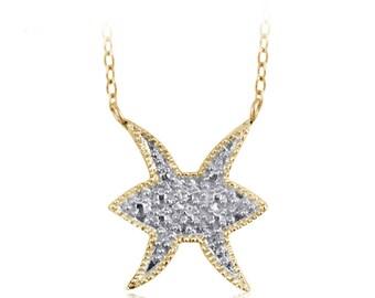 Accent White Diamond Pisces Zodiac Sign Pendant In Gold over Silver