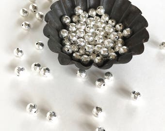 8mm Sterling Silver Plated Hammered Bead, Silver Beads, 8mm, 8Pcs