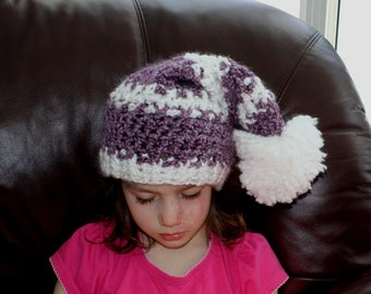 Soft 'n' Fuzzy Elf Hat pdf PATTERN (digital download), newborn to adult sizes, elf/gnome/longtailed hat to crochet, photo prop