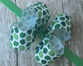 Shamrock Headband St Patricks Headband St Patricks Day Headband Shamrock Big Bow Headband Toddler Headband Large Bow Headband Baby Headband