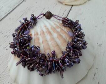 Purple beaded fringe bracelet.  hand stitched purple beaded bracelet, cha cha style bracelet, crusie ship, wedding, bridal