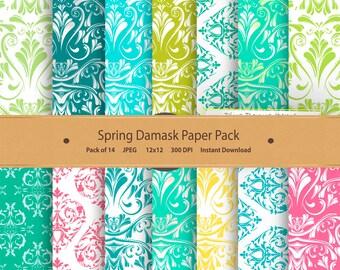 Damask Digital Paper Pack Spring Damask Background Printable Damask Pattern Floral Scrapbook Damask Green Turquoise Aqua Blue Pink Yellow