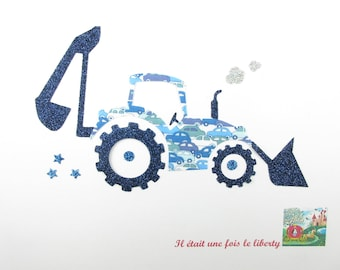 Applied fusible tractor liberty Cars blue tractor applique glitter flex liberty fusing sewing patch applique