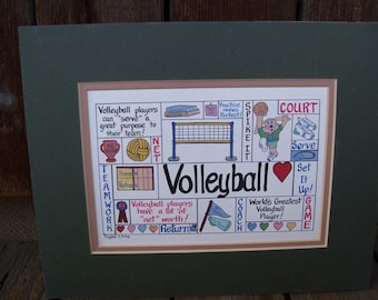 Volleyball Art Giggle Art Volleyball Giggles and Grins Matte Board No Frame Green Matte Board