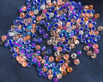 Minimix colorful:melange 100 assorted mini beads 4 mm separator spacer inside colorful tangy, blend of beads 4 mm Crystal beads