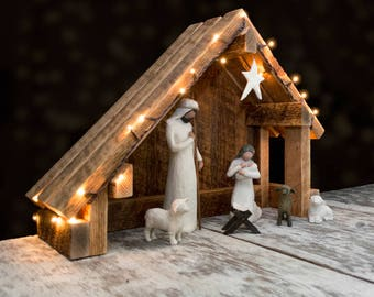 Nativity Creche Stable with Slant Roof Reclaimed Barn Wood for Willow Tree