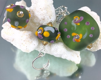 lampwork pendant necklace, etched glass pendant, olive green earring set, olive green necklace, etched glass jewelry, matte bead jewelry