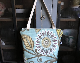 Zippered Tote Bag/Purse - Flowers and Vines