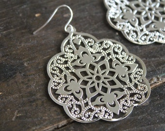 Madrid LARGE Silver Filigree Lace Earrings