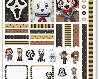 Scary Movies Decorating Kit / Weekly Spread Planner Stickers for Erin Condren Planner, Filofax, Plum Paper