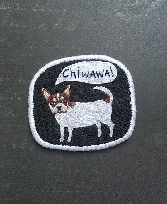 Chihuahua brooch. Dog Brooch with Chiwawa -  Funny Dogs - collection, hand embroidered textile jewelry, pet portrait brooch.