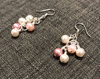 Pink Swarovski Glass Pearl Cluster Earrings