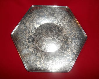 "One (1) E.P.N.S., 9 1/4"" Tapestry Hexagon Shaped Tray, from W.B. Mfg., Co.  (Weidlich Bros) of Bridgeport, Conn., in the 3514 Pattern."