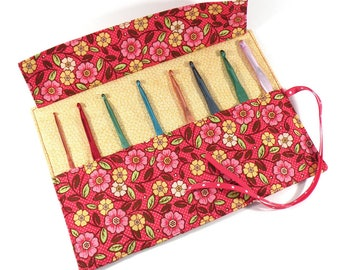 Crochet Hook / DPN Organizer - Red Polka Dot Floral - Crochet Hook Organizer Crochet Hook Case Crochet Organizer Organiser Flowers