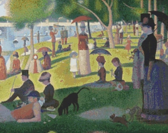 A Sunday on La Grande Jatte, Georges by Seurat - Counted Cross Stitch Kit - DMC materials