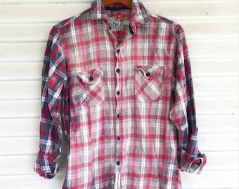 SMALL - Flannel Shirt - Bleached - Vintage Washed Flannel - Oversized Flannel - Distressed Flannel - Plaid Shirt - Fall Shirt - #71 BM