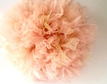 Blush Pink and Gold Tulle Pom Pom