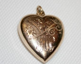 Vintage 9ct Rose Gold Engraved Bubble Heart Pendant