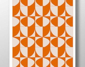 Orange Wall Art,Orange Art Print,Giclee Art Print,Midcentury Modern Print,Large Poster,Geometric Art,Contemporary Art Print,Abstract Prints