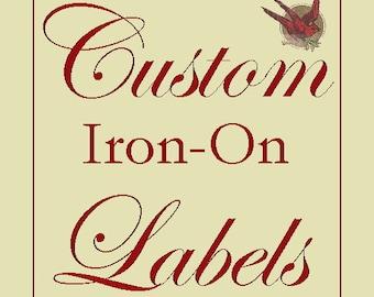 40 benutzerdefinierte Cotton Fabric Etiketten - IRON-ON Kleidungsstück Tags mit IHREM Logo