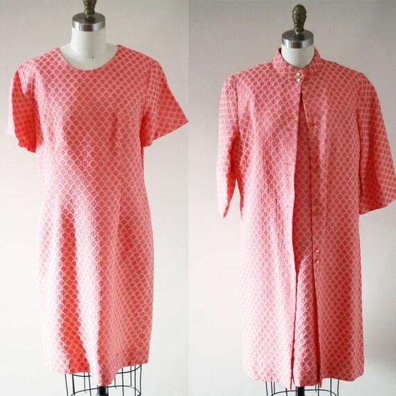 1960s two piece dress set // 1960s pink dress jacket // vintage dress