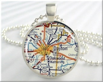 Dayton Map Pendant, Resin Charm, Dayton Ohio Map Necklace, Round Silver, Map Charm, Gift Under 20, Picture Jewelry 639RS