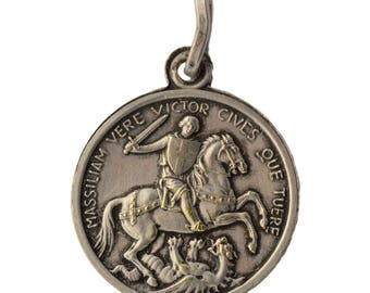 Saint George & Martyrum Virgin Litany  - Authentic French Religious Medal Pendant Charm - Soldier Patron