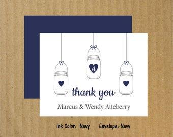 Hanging Mason Jar Cards, Set of 10, Wedding Mason Jar, Thank You Cards, Mason Jars, Wedding Thank You Cards, Wedding Shower Cards