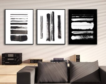 Set of 3 black and white prints, abstract prints, black and white abstract prints, minimalist art, minimalist prints, printable minimal art