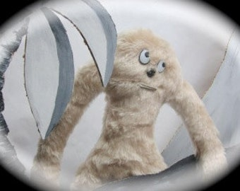 Misfit Monster Plushie -Baby Yeti Zip-It- Misfit Island Relocation -Monster Stuffie -Zipper Mouth Baby Yeti Monster - Furry Long Arm Monster
