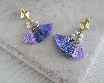 Beaded tassel earrings, Purple tassel earrings, Hippie earrings, Bohemian earrings, Gift for her, Fringe tassel earrings, Bridesmaid gift