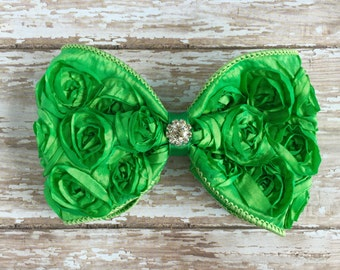 Lime Green Rosette Bow Hair Clip, Rhinestone, Photo Prop, Wedding Hair Clip, Bridal Hair Clip, Flower Girl, Children, Little Girl Hair Clip