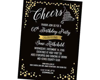 Adult birthday party invitations etsy adult birthday party invitation black gold foil birthday invitation special invitation filmwisefo Image collections