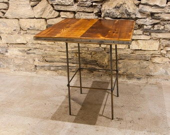 Reclaimed Wood Restaurant Table Tops, 24x24, Rustic Dining Table Top With  Industrial Metal Trim