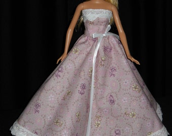 Barbie Doll Dress Handmade Pink Strapless Gown