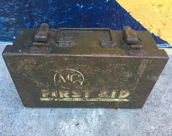 Vintage MS Co First Aid Kit Medical Supply Company Rockford Illinois Army Green Metal Storage Military Militaria 1940's 1930 Decor Americana