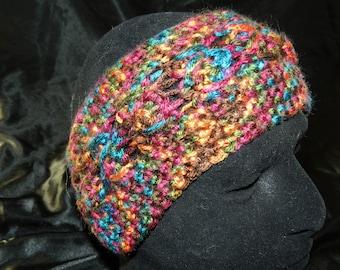 Crocheted Cabled Headband/Earwarmer in Earth Tone Rainbow