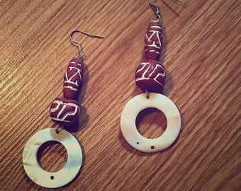 Brown Clay and Acrylic Drop Earrings