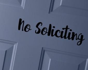 No Soliciting Vinyl Decal   No Soliciting Sticker   Door Decal   Front Door Decal   Front Door Vinyl Sticker   Front Door   Vinyl Decal