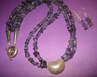 Iolite Over the Moon Necklace and Earrings